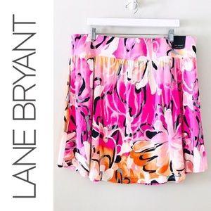Lane Bryant Floral Elastic Waist Skirt Size 22